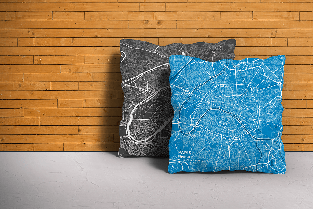 Map Throw Pillow of Paris France - Subtle Blue Contrast