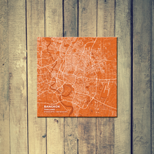 Gallery Wrapped Map Canvas of Bangkok Thailand - Subtle Burnt