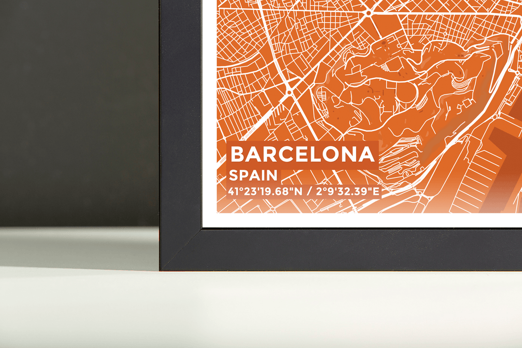 Framed Map Poster of Barcelona Spain - Subtle Burnt