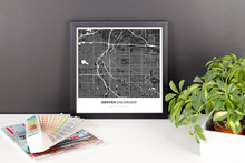 Framed Map Poster of Denver Colorado - Simple Contrast - Denver Map Art
