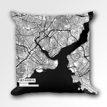 Map Throw Pillow of Istanbul Turkey - Subtle Black Ink