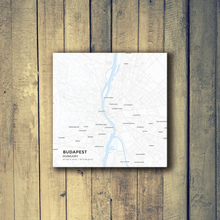 Gallery Wrapped Map Canvas of Budapest Hungary - Subtle Ski Map - Budapest Map Art