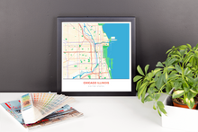 Framed Map Poster of Chicago Illinois - Simple Colorful - Chicago Map Art