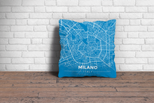 Map Throw Pillow of Milano Italy - Modern Blue Contrast