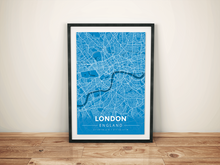 Premium Map Poster of London England - Modern Blue Contrast - Unframed