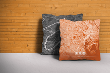 Map Throw Pillow of Tokyo Japan - Modern Burnt