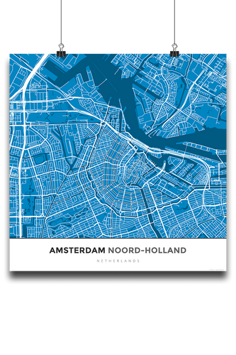 Premium Map Poster of Amsterdam Noord-Holland - Simple Blue Contrast - Unframed