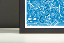 Framed Map Poster of Rome Italy - Subtle Blue Contrast