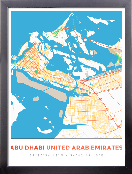 Framed Map Poster of Abu Dhabi United Arab Emirates - Simple Colorful - Abu Dhabi Map Art
