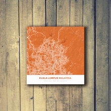 Gallery Wrapped Map Canvas of Kuala Lumpur Malaysia - Simple Burnt