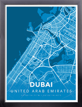Framed Map Poster of Dubai United Arab Emirates - Modern Blue Contrast