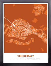 Framed Map Poster of Venice Italy - Simple Burnt - Venice Map Art