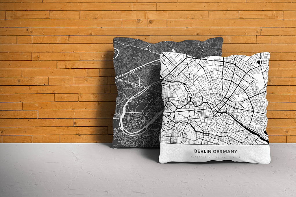 Map Throw Pillow of Berlin Germany - Simple Black Ink - Berlin Map Art