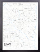 Framed Map Poster of Dallas Texas - Subtle Ski Map - Dallas Map Art