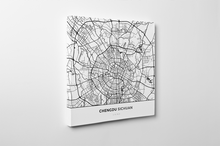 Gallery Wrapped Map Canvas of Chengdu Sichuan - Simple Black Ink - Chengdu Map Art