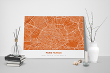 Gallery Wrapped Map Canvas of Paris France - Simple Burnt