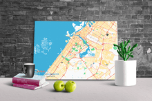 Gallery Wrapped Map Canvas of Dubai United Arab Emirates - Subtle Colorful