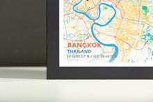 Framed Map Poster of Bangkok Thailand - Subtle Colorful