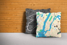 Map Throw Pillow of New York United States - Subtle Colorful