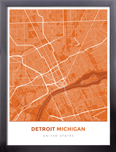 Framed Map Poster of Detroit Michigan - Simple Burnt - Detroit Map Art