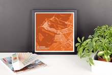 Framed Map Poster of Abu Dhabi United Arab Emirates - Subtle Burnt - Abu Dhabi Map Art