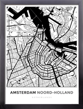 Framed Map Poster of Amsterdam Noord-Holland - Simple Black Ink