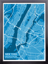 Framed Map Poster of New York United States - Subtle Blue Contrast