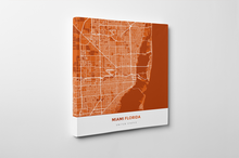 Gallery Wrapped Map Canvas of Miami Florida - Simple Burnt - Miami Map Art
