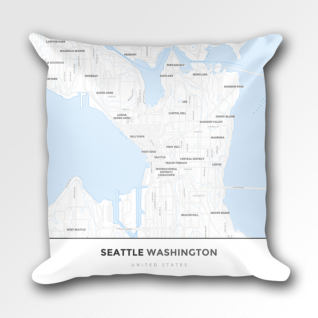 Map Throw Pillow Of Seattle Washington Map Art Travel Decor
