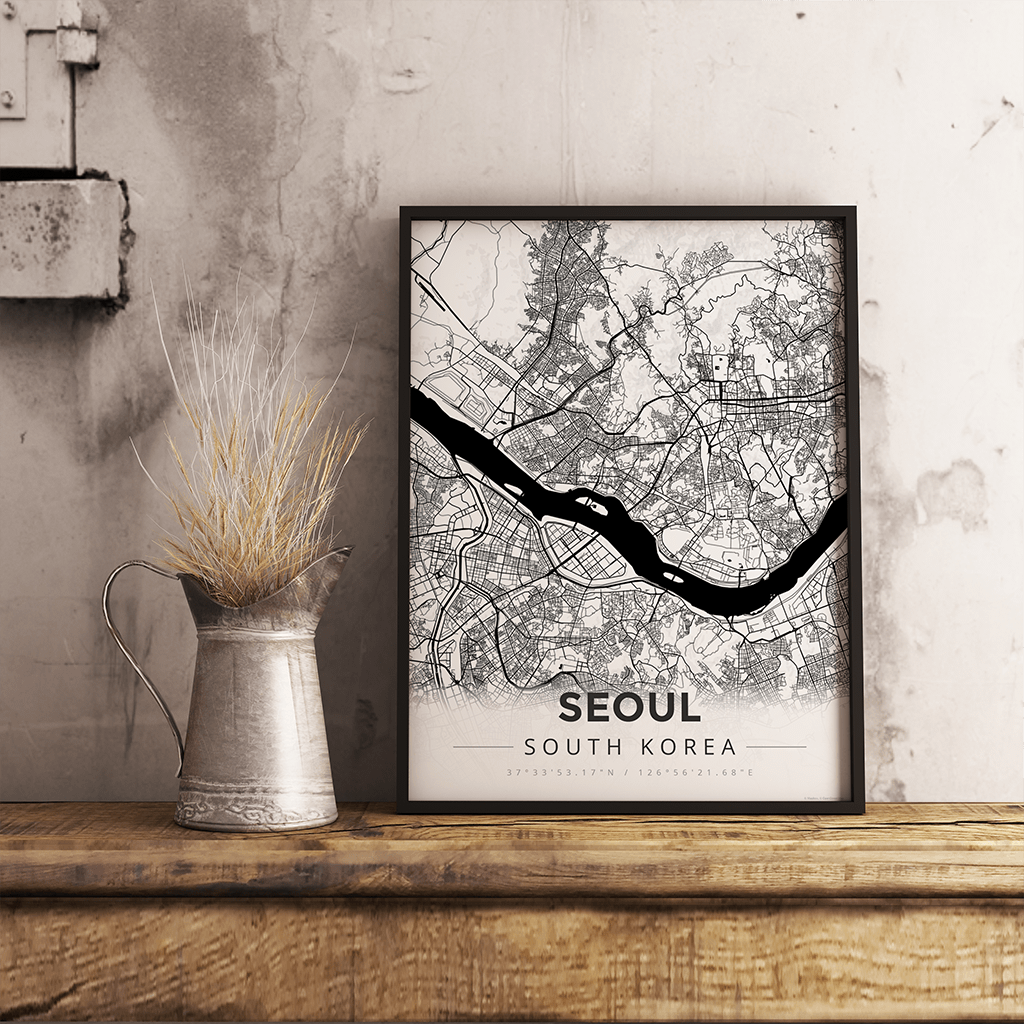 Premium Map Poster of Seoul South Korea - Modern Black Ink - Unframed