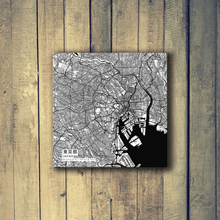 Gallery Wrapped Map Canvas of Tokyo Japan - Subtle Black Ink