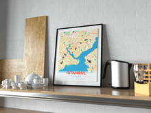 Premium Map Poster of Istanbul Turkey - Modern Colorful - Unframed