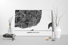 Gallery Wrapped Map Canvas of Lisbon Portugal - Simple Contrast - Lisbon Map Art