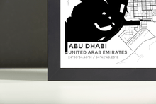 Framed Map Poster of Abu Dhabi United Arab Emirates - Subtle Black Ink - Abu Dhabi Map Art