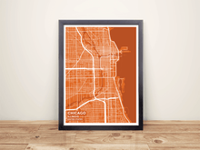 Framed Map Poster of Chicago Illinois - Subtle Burnt - Chicago Map Art