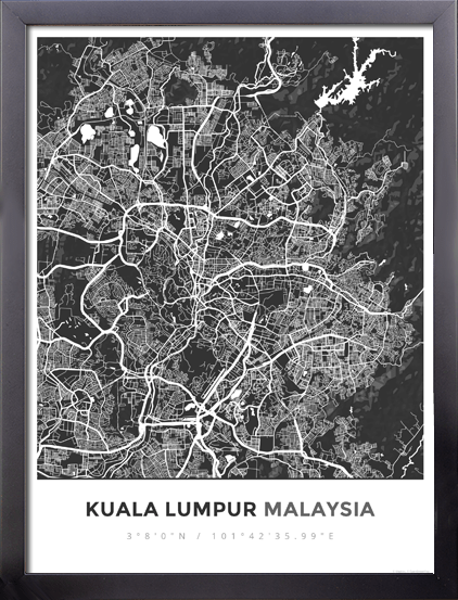 Framed Map Poster of Kuala Lumpur Malaysia - Simple Contrast