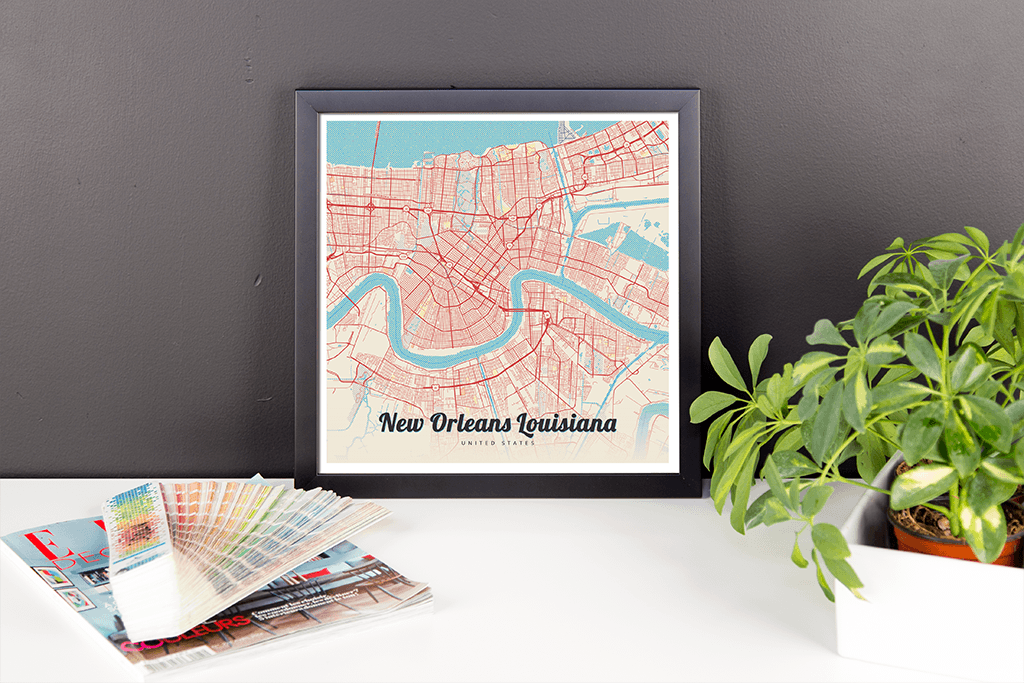 Framed Map Poster of New Orleans Louisiana Map Art Travel