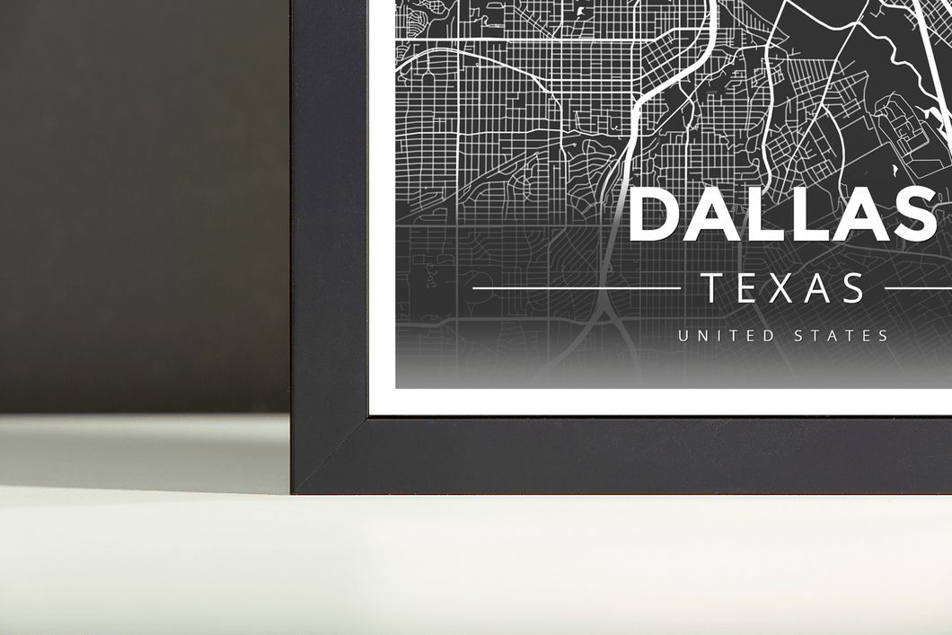 Framed Map Poster of Dallas Texas - Modern Contrast - Dallas Map Art