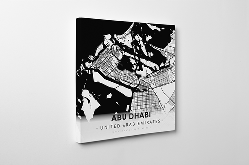 Gallery Wrapped Map Canvas of Abu Dhabi United Arab Emirates - Modern Black Ink - Abu Dhabi Map Art