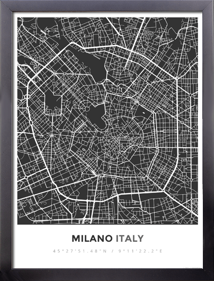 Framed map poster of milano italy map art travel decor mapprints gumiabroncs Choice Image