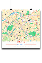 Premium Map Poster of Paris France - Modern Colorful - Unframed