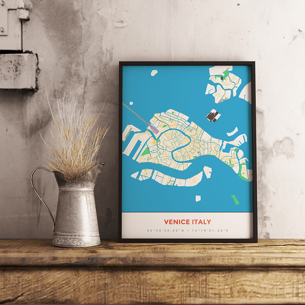 Premium Map Poster of Venice Italy - Simple Colorful - Unframed - Venice Map Art