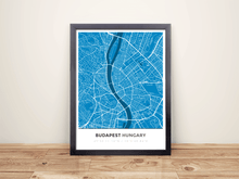 Framed Map Poster of Budapest Hungary - Simple Blue Contrast - Budapest Map Art
