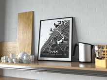 Premium Map Poster of Dubai United Arab Emirates - Modern Contrast - Unframed