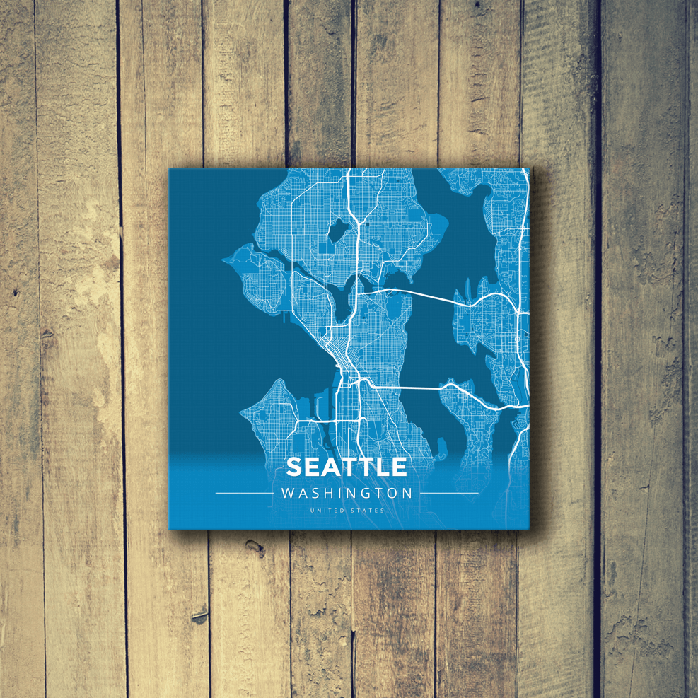 Gallery Wrapped Map Canvas Of Seattle Washington Map Art Travel