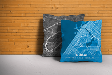 Map Throw Pillow of Dubai United Arab Emirates - Modern Blue Contrast