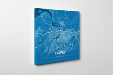 Gallery Wrapped Map Canvas of Taipei Taiwan - Modern Blue Contrast