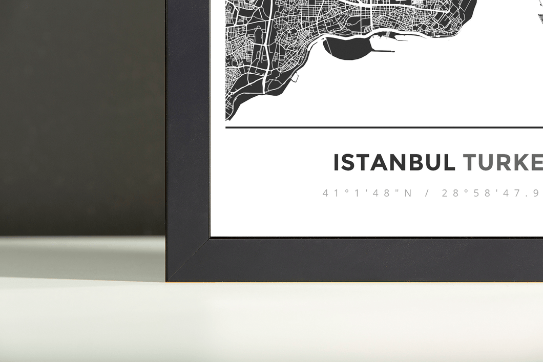Framed Map Poster of Istanbul Turkey - Simple Contrast