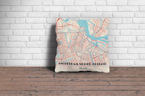 Map Throw Pillow of Amsterdam Noord-Holland - Diner Retro - Amsterdam Map Art