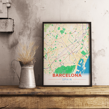 Premium Map Poster of Barcelona Spain - Modern Colorful - Unframed